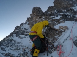 Euan Moir on the western ridge of Khan Tengri