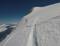 Fresh powder on the north face of Mont Blanc