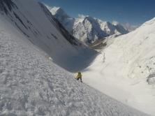 Approaching the northwest ridge of Byankol, 5844m