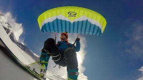 Speedriding on the lower slopes Khan Tengri